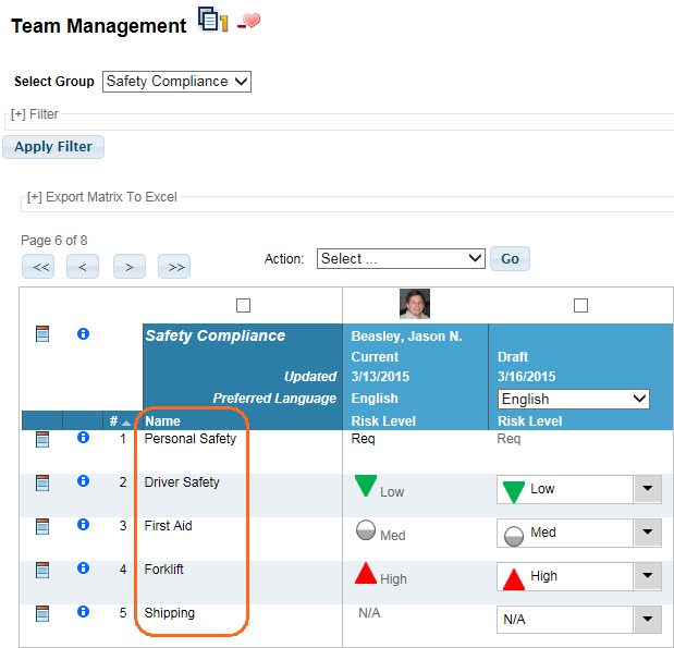 Team Management Group Item Name used in VTA Learner
