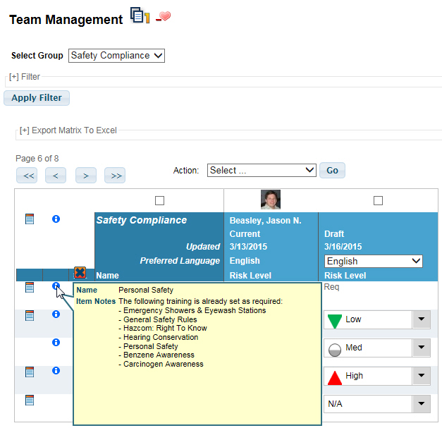 Team Management Group Instructions as seen in VTA Learner