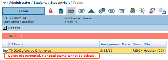 You cannot delete a managed Team