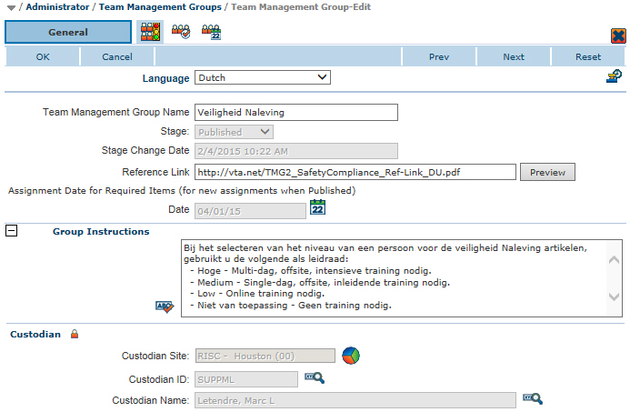 Team Management Group multi-language setup - Dutch entered
