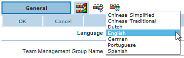 Team Management Group multi-language setup - Language selector